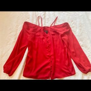 Express red off the shoulder blouse